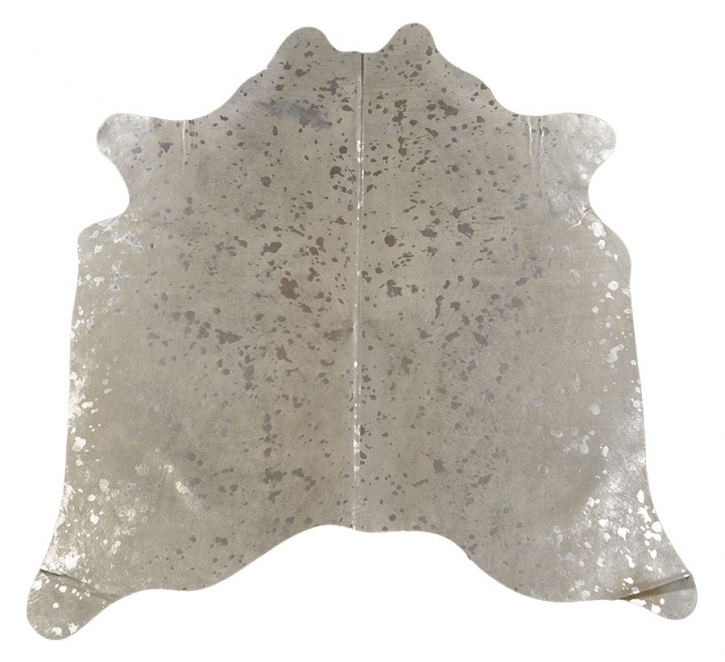 Kuhfell weiss mit silbernen Sprenkeln 230 x 190 cm
