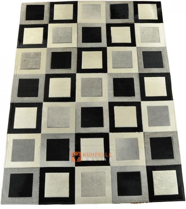 KUHFELLTEPPICH 210 x 150 cm GRAU SCHWARZ WEISS