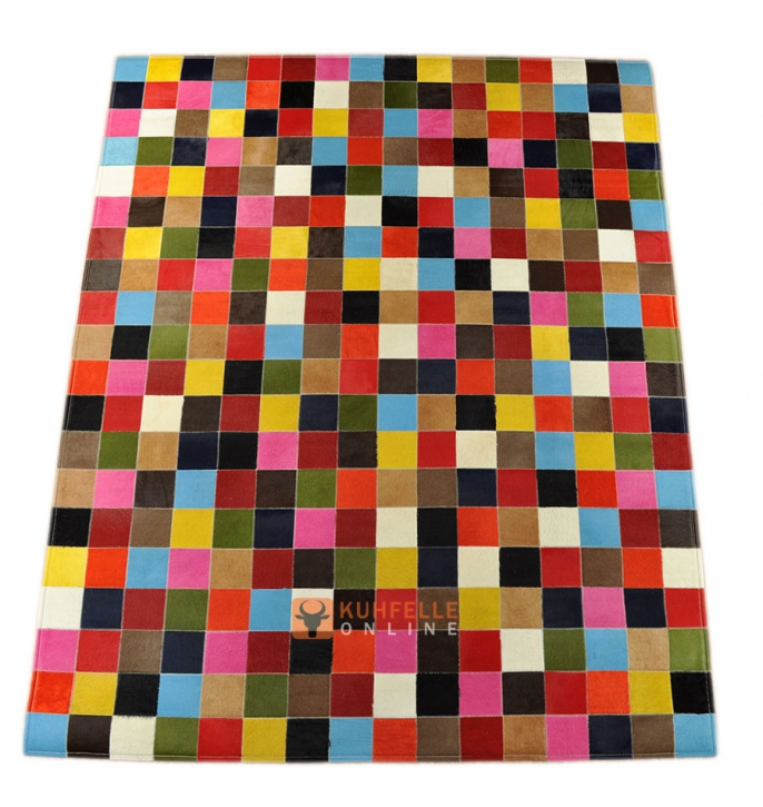 EXKLUSIVER KUHFELL TEPPICH PATCHWORK BUNT 160 x 200 cm