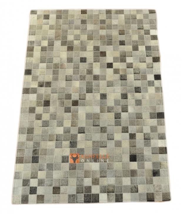KUHFELLTEPPICH GRAU 150 x 100 cm
