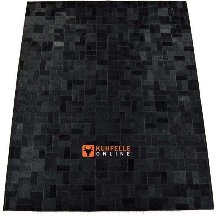 KUHFELLTEPPICH PATCHWORK SCHWAARZ 200 x 160 cm