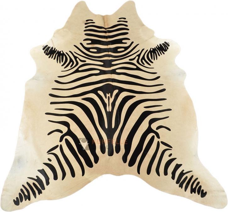 Kuhfell mit schwarzen Zebra Print  210 x 180 cm