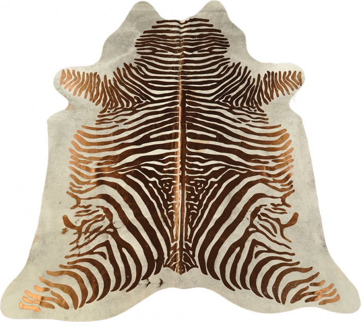 Kuhfell Zebra hell grau kupfer 210 x 185 cm