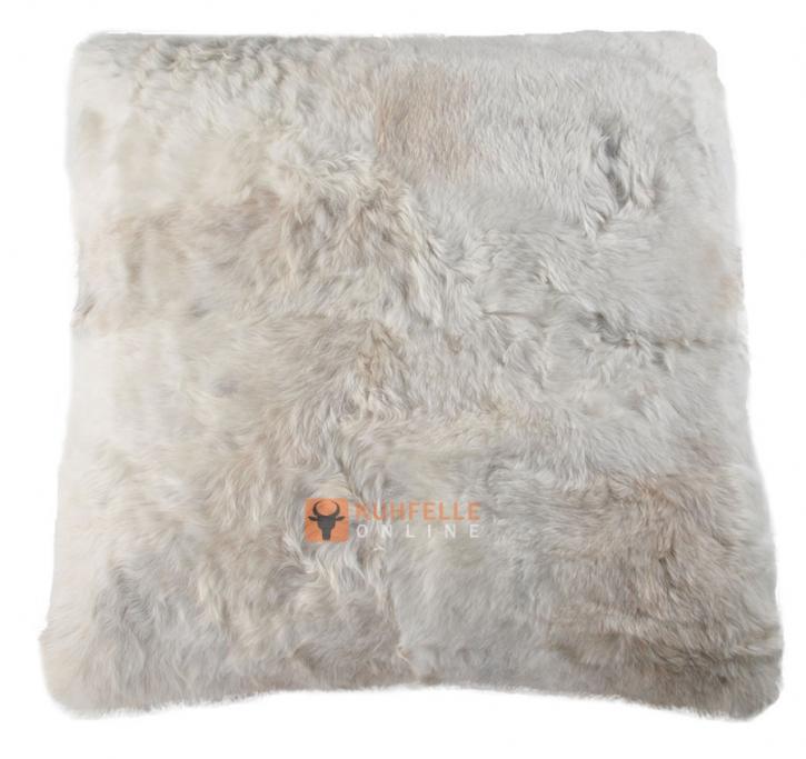 Öko Lammfell Bodenkissen Pouf beige grau 80 x 80 cm