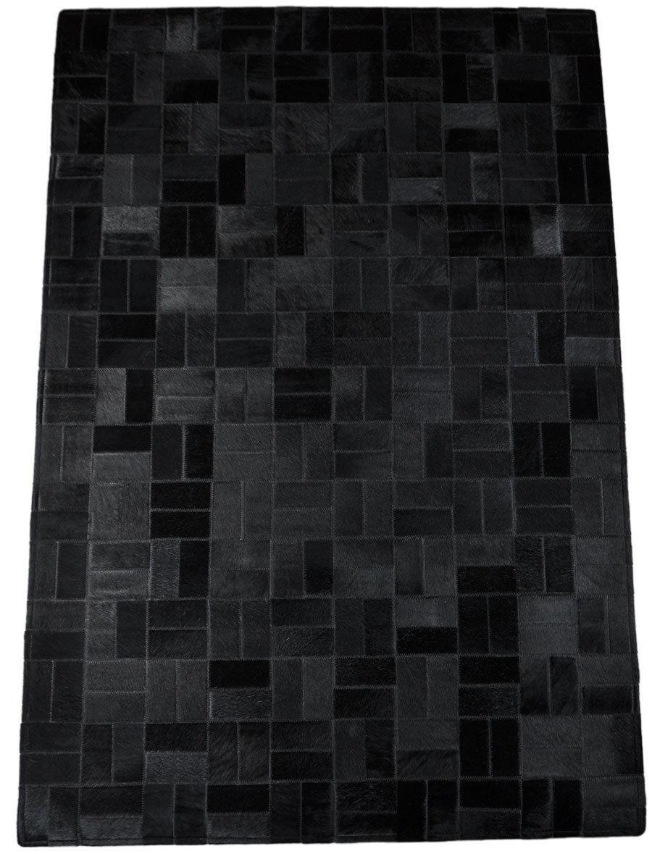 kuhfellteppich l ufer schwarz 140 x 180 cm. Black Bedroom Furniture Sets. Home Design Ideas