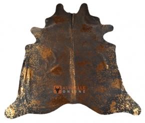 Kuhfell Devore dunkelgrau gold 240 x 200 cm