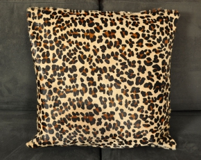 echtes Kuhfell Kissen mit Leoparden Optik 50 x 50 cm