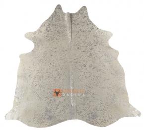 Kuhfell weiss mit silbernen Sprenkeln 195 x 165 cm