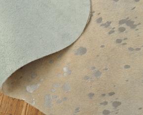 Kuhfell weiss mit silber Sprenkel 205 x 205 cm