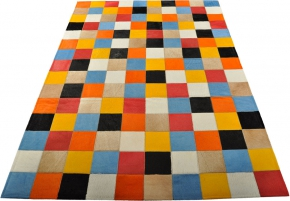 EXKLUSIVER KUHFELL TEPPICH PATCHWORK BUNT 150 x 100 cm