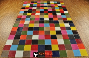 EXKLUSIVER KUHFELL TEPPICH PATCHWORK BUNT 120 x 180 cm
