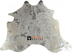 Kuhfell weiss mit silbernen Sprenkeln 200 x 200 cm