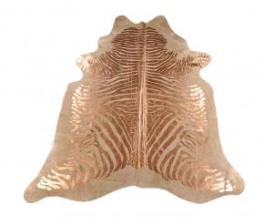 Kuhfell mit Kupfer Zebra Prägung 225 x 190 cm